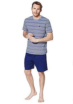 F&F Striped T-Shirt and Shorts Loungewear Set - Blue