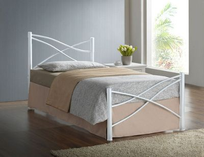 Comfy Living 3ft Single Modern Metal Bed Frame in White