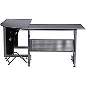 Homcom Glass Corner Computer Desk Office-Black
