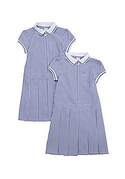 F&F School 2 Pack of Plus Fit Permanent Pleat Gingham Dresses - Navy/White