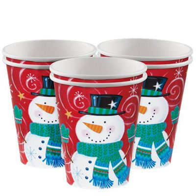Snowman Swirl Party Paper Cups - 255ml - 8 Pack