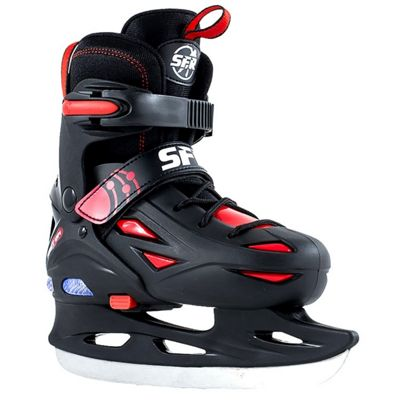 SFR Adjustable Ice Skates - Eclipse Lights Black/Red - Small (Junior UK 8 / 11)