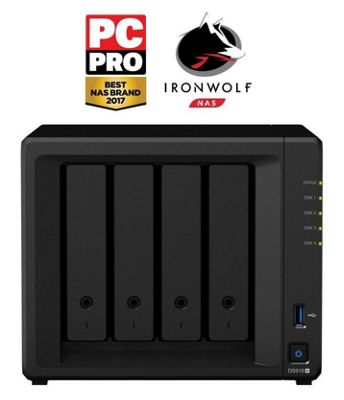 Synology DiskStation DS918+/12TB-IW 4-bay 12TB(4x3TB Seagate IronWolf) powerful and scalable NAS