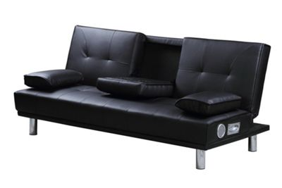 Manhattan Black Faux Leather 3 Seater Sofa Bed With Bluetooth Speakers