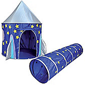 Space Rocket Pop Up Play Tent and Tunnel Set
