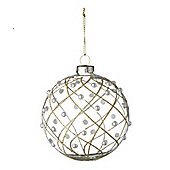 Clear Glass Bauble With Gold Trellis Design - Christmas Tree Decoration