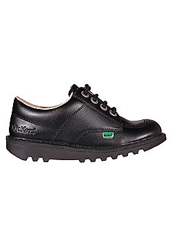 Kickers Kick Lo Leather Junior Girls School Shoe Boot Black - Black