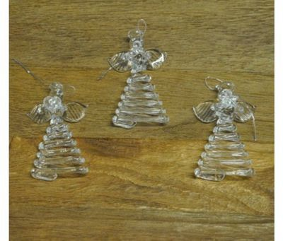 Set Of Three Hanging Glass Angel Christmas Decorations