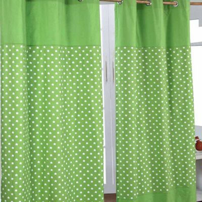 Homescapes Cotton Stars Green Ready Made Eyelet Curtain Pair, 137 x 182 cm Drop