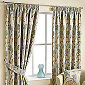 Homescapes Aqua Ready Made Jacquard Curtain Pair Floral Tapestry Design 66x90""