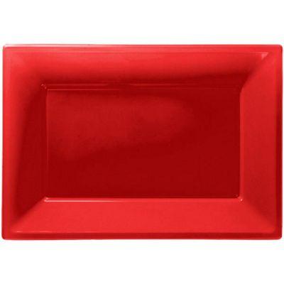 Red Serving Platters - 23cm x 32cm Plastic - 3 Pack