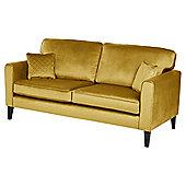 Fox & Ivy Dexter Velvet Large 3 Seater Sofa, Mustard
