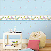 Hoopla Pretty Birds White and Blue Wallpaper Border