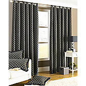 Belmont Eyelet Lined Curtains Black 90x90