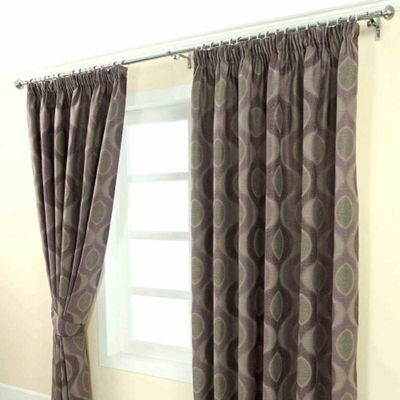 Homescapes Purple Jacquard Curtain Modern Curve Design Fully Lined - 90