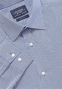 F&F Gingham Slim Fit Long Sleeve Shirt - Blue