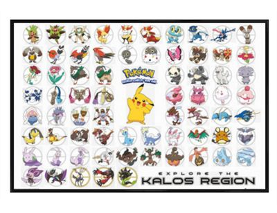 Pokemon Gloss Black Framed Kalos Region PKMN Poster