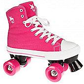Rookie Quad Roller Skates - Canvas High Stars Blue/White - Pink