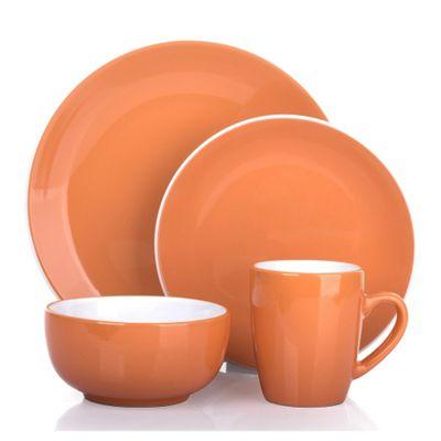 16 Piece 2 Tone Mandarin Orange & White Dinner Set