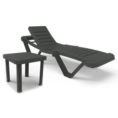 Resol Master Plastic Adjustable Reclining Sun Lounger & Andorra Coffee Side Table - Grey
