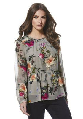Only Floral Peplum Hem Blouse XL Khaki
