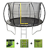 Up and About 12ft Hurricane Black Trampoline Package with Free Ladder and Building Tool