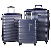 Rock Pacific 4 Wheel Navy 3 Piece Luggage Set