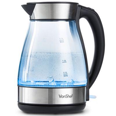 VonShef 1.7L Glass Kettle with Blue LED Illumination