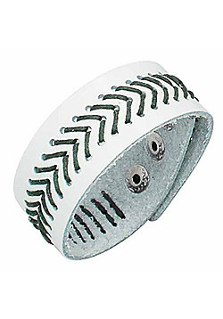 Urban Male Genuine White Leather & Green Cord Stitched Bracelet