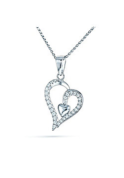 REAL Effect Rhodium Plated Sterling Silver White Cubic Zirconia Small Heart in Big Heart Charm Pendant - 16/18 inch
