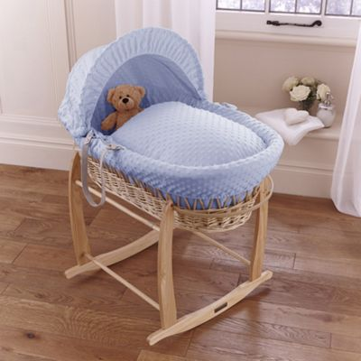 Clair de lune Dimple Natural Wicker Moses Basket - Blue