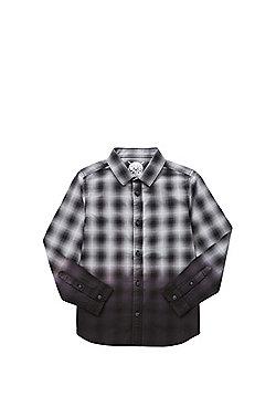 F&F Dip Dye Checked Long Sleeve Shirt - Black & Grey