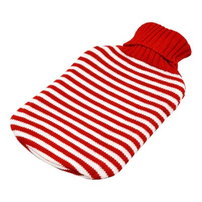 Full Size Hot Water Bottle With Knitted Cover - Red Stripe