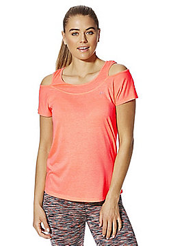 F&F Active Cold Shoulder T-Shirt - Coral