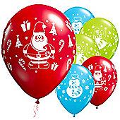 6 Pack Christmas Snowman, Penguin & Santa Festive Balloons - 11 inch Latex
