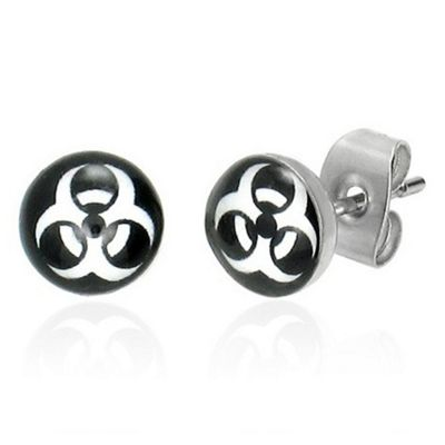 Urban Male Biohazard Symbol Stainless Steel Stud Earrings 7mm