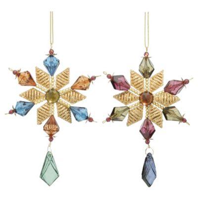 Festive Jewel Coloured Stars Hanging Decoration