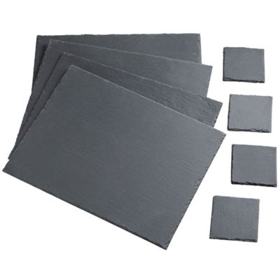 VonShef Set of 4 Placemats & 4 Coasters Natural Slate