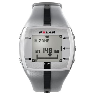 Polar FT4 Sports Watch/Heart Rate Monitor, Silver/Black