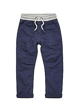 F&F Lined Rib Waist Trousers - Navy