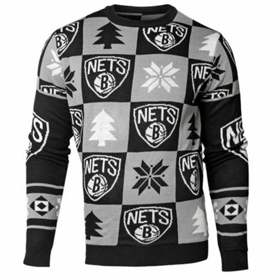 NBA Basketball Brooklyn Nets Patches Crew Neck Sweater - M