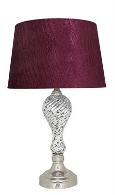Silver Mercury Ripple Table Lamp With Red Crocodile Empire Shade