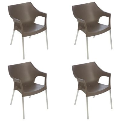 Resol Pole Designer Plastic Home Garden Dining Armchair - Chocolate - Pack of 4