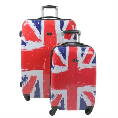 4667600fe Buy Swiss Case 4 Wheel Hard 2Pc Suitcase Set Union Jack / British ...