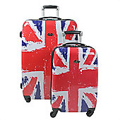 Swiss Case 4 Wheel Hard 2Pc Suitcase Set Union Jack / British Flag