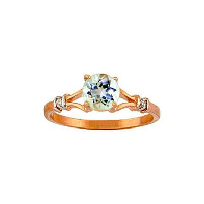 QP Jewellers Diamond & Aquamarine Aspire Ring in 14K Rose Gold - Size Y
