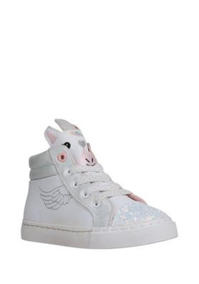 F&F Glitter Unicorn High Top Trainers White/Silver Child 7