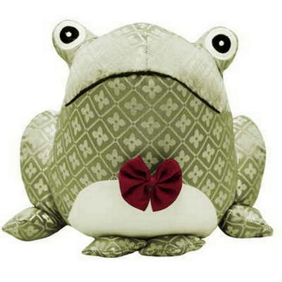 Diamond jacquard woven fabric frog door stopper with a bow tie - beige