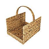 Woodluv Water Hyacinth Rectangle Open Ended Wood Log Basket - Medium