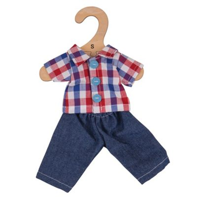 Bigjigs Toys Checked Shirt and Jeans 28cm - Doll Outfit